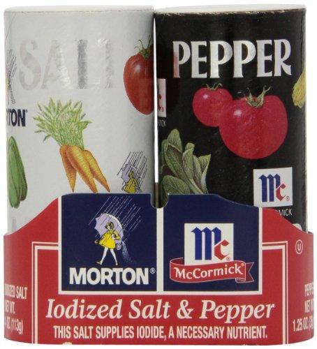 Morton's Salt/McCormick Pepper Double Pack, 1.25 Ounce each, 2 Pack