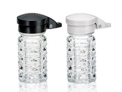 Shake-It-Free Shakers - Moisture Proof Salt & Pepper Shakers, Tumbler Home Exclusive-Black & White Lids Spring Loaded, No Clog, 1.5 Oz, Set of 2