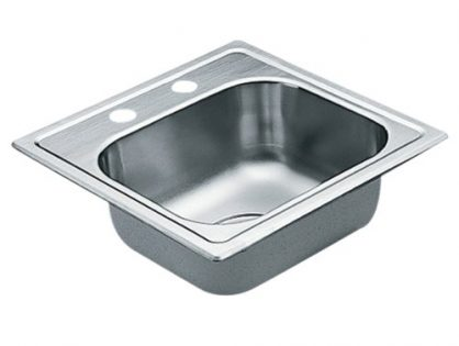 Moen 2200 Series 22 Gauge Single Bowl Drop In Sink, 15 x 15, Stainless Steel G2245622