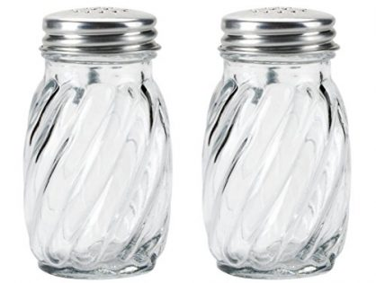 Kangaroo's Glass Swirl Salt & Pepper Shaker with Lids, 3¼ oz. Set of 2