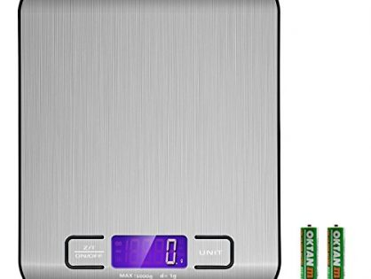 Etekcity Digital Kitchen Scale Multifunction Food Scale, 11 lb 5 kg, Silver, Stainless Steel Batteries Included
