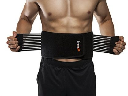 BraceUP Stabilizing Lumbar Lower Back Brace and Support Belt with Dual Adjustable Straps and Breathable Mesh Panels S/M
