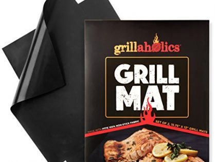 Extended Warranty - Set of 2 Non Stick BBQ Grill Mats - Heavy Duty, Reusable, and Easy to Clean - Grillaholics Grill Mat