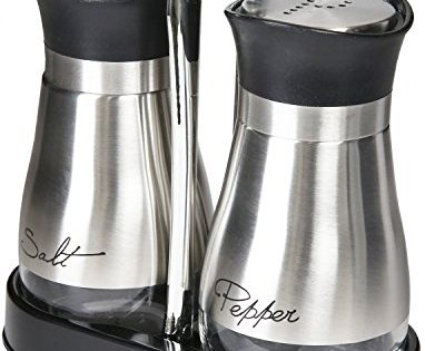 """Salt and Pepper Shakers Set - 4"""" x 6"""" x 2"""", 4 oz. - High Grade Stainless Steel with Glass Bottom and 4' Stand"""