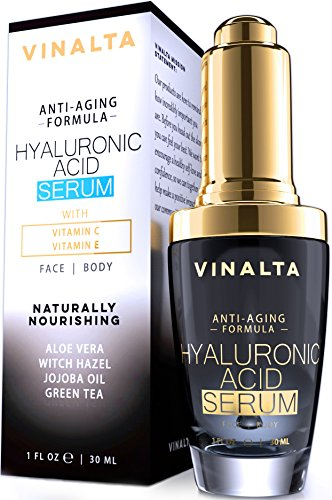 Best Hyaluronic Acid Serum by Vinalta, Anti Aging Skin Care for Face, with Vitamin C, E, Organic Jojoba Oil, Aloe and More, Great Hydration for Easy Wrinkle Repair, Light up the World with Your Beauty