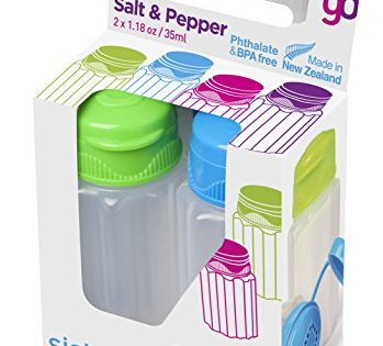 Sistema To Go Collection Salt and Pepper Shakers, Assorted Colors, Set of 2
