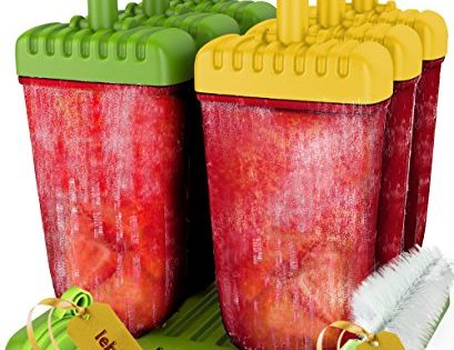 Popsicle Molds Set - by Lebice - 6 Ice Pop Makers + Silicone Funnel + Cleaning Brush + Ice Cream Recipes E-book - BPA Free