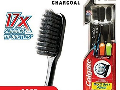 Colgate Slim Soft Charcoal Toothbrush Pack of 3 17x Slimmer Soft Tip Bristles