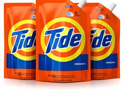 Tide Smart Pouch Original Scent HE Turbo Clean Liquid Laundry Detergent, Pack of 3, 48 oz. pouches, 93 loads
