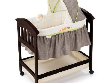 Summer Infant Classic Comfort Wood Bassinet, Fox and Friends, Espresso Stain