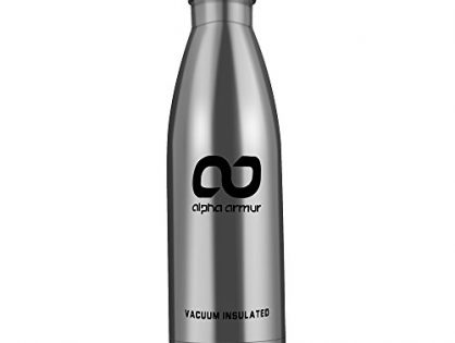 Alpha Armur 16 Oz 500ml Insulated Water Bottle Double Wall Vacuum Insulated Stainless Steel Flask Water Bottle with Narrow Mouth, Silver