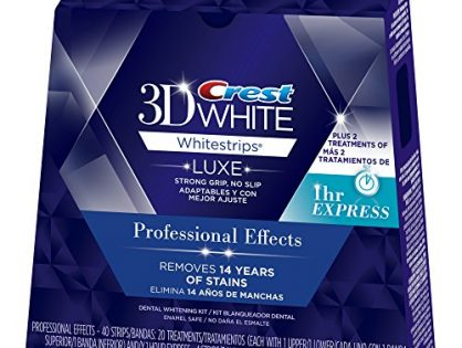 Crest 3D White Luxe Whitestrips Professional Effects - 2 Treatments Teeth Whitening Kit - 20 Treatments and White Whitestrips 1 Hour Express