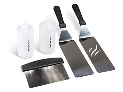 Great for Griddle, Grill and Flat Top Cooking in the Backyard, Camping, Tailgating and Everywhere. - Blackstone 5 Piece Professional Grade Grill Griddle and BBQ Tool Kit with FREE GIFT - 2 Spatulas, 1 Chopper Scrapper, 2 Bottles for Condiments or Water or Oil and A Free Cookbook