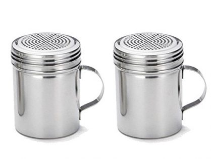 Great Credentials Stainless Steel Versatile Dredge Shaker, Salt, Sugar, Shakers 10 Oz. Each Set of 2 With Handle