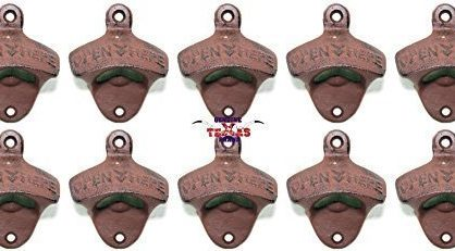 "Set of 10 ""Open Here"" Cast Iron Wall Mount Bottle Opener Vintage Look Replica"