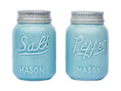 Adorable Decorative Mason Jar Décor for Vintage, Rustic, Shabby Chic - Vintage Mason Jar Salt & Pepper Shakers by Comfify - 3.5 oz. Cap. - Sturdy Ceramic in Aqua Blue