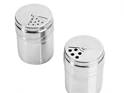 Verdental Stainless Steel Dredge Salt / Sugar / Spice / Pepper Shaker Seasoning Cans with Rotating Cover