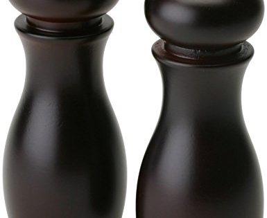 "Olde Thompson 6"" Caffe Wood Pepper Mill and Salt Shaker Set"
