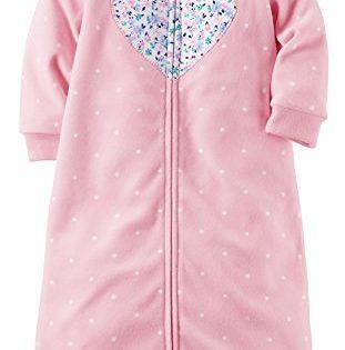 Carters One-piece Soft Fleece Sleepsuit or Sleep Sack, Pink Floral Heart, 0-9 Months