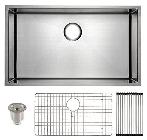 """Frigidaire Undermount Stainless Steel Kitchen Sink, 10mm Radius Corners, 16 Gauge, Deep Basin, 32"""""""