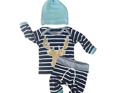 Baby Boys 3pcs Long Sleeve Tops with Leggings and Hat Outfit Set Newborn Clothes 0-3M, Blue