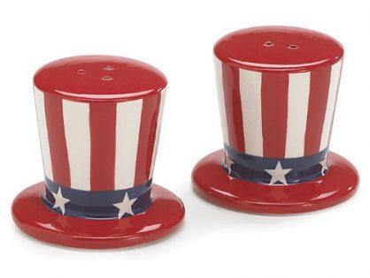 Burton & Burton USA Flag Salt and Pepper Shakers Patriotic Uncle Sam Hats