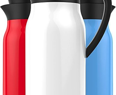 Vremi 51 oz Coffee Carafe - White - Thermal Carafe Hot Drink Carrier Container with Heat Cold Retention - 1.5 liter Tea Thermos Large Travel Bottle Stainless Steel Vacuum Insulated with Leak Proof Lid