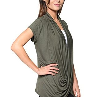 Free to Live Women's Lightweight Short Sleeve Criss Cross Pullover Nursing Top Large, Olive