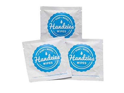 Handzies: Natural Soap and Water Hand Wipes, Individually Packaged, Free of Alcohol, Triclosan and Benzelkonium Chloride, Made with Pure Castile Soap and Essential Oils 24