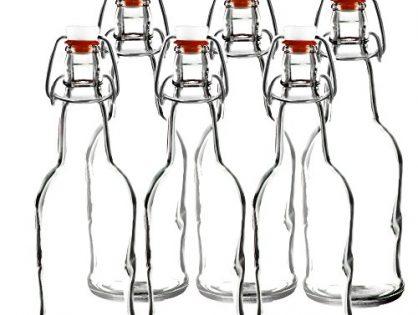 Easy Cap Beer Bottles - Clear 6 pack - Kombucha Bottles - EZ Cap -- Original Cherry Blossom Hardware Bottles 6, Clear Mason Jar Bottles - 16 oz.