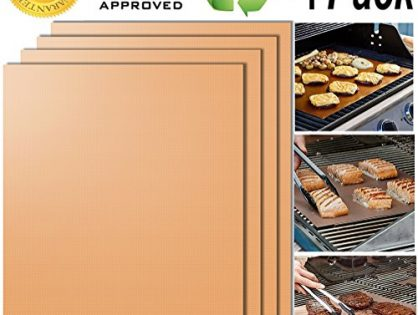 100% Non-stick BBQ Grill Mats - 15.75 x 13 Inch - Smaid - FDA-Approved, PFOA Free, Reusable and Easy to Clean - Works on Gas , Charcoal , Electric Grill and More - Gold Grill Mat Set of 4