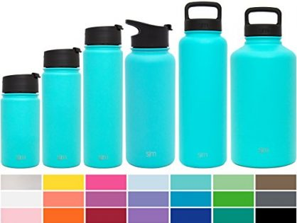 Caribbean Blue - Simple Modern 22oz Summit Water Bottle + Extra Lid - Powder Coated Double-Walled Flask - Vacuum Insulated Stainless Steel Wide Mouth Hydro Travel Mug
