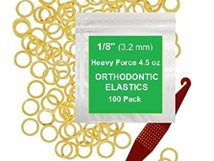 "1/8"" inch Orthodontic Elastic Rubber Bands, 100 Pack, Natural, Heavy Force 4.5 oz, Small Rubberbands for making bows, Dreadlocks, Dreads, Doll Hair, Braids, Horse Mane, Horse Tail, Fix Tooth Gap in teeth, Top Knots + FREE Elastic Placer for braces"