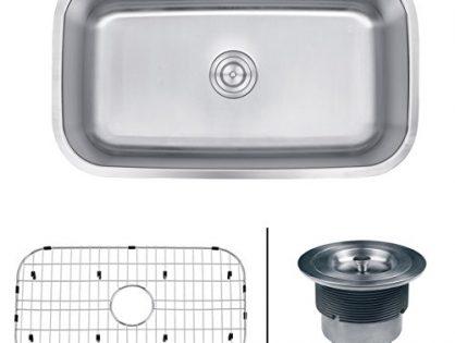 "Ruvati RVM4200 Undermount 16 Gauge 32"" Kitchen Sink Single Bowl, Stainless Steel"