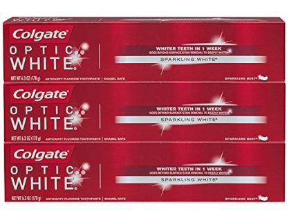 6.3 ounce 3 Pack - Colgate Optic White Whitening Toothpaste, Sparkling Mint