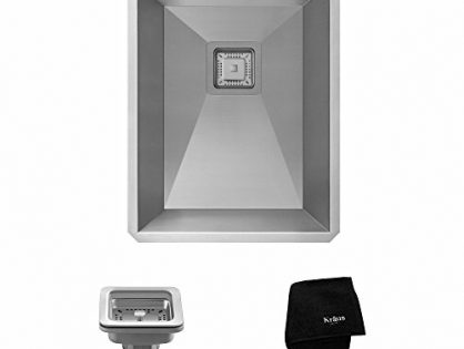 "Kraus KHU15 Pax Zero-Radius 14 1/2"" 18 Gauge Handmade Undermount Single Bowl Stainless Steel Bar/Prep Sink"