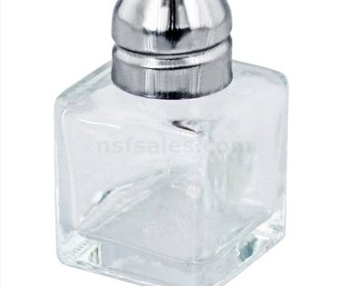 New Star Foodservice 22254 Glass Cube Mini Salt and Pepper Shaker with Stainless Steel Top, 0.5-Ounce, Set of 48