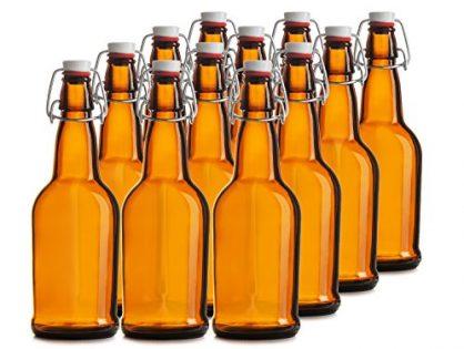 16 oz. EASY CAP Beer Bottles - AMBER - Chef's Star CASE OF 12