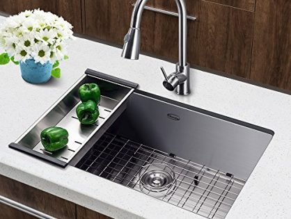Harrahs 30 Inch Commercial Undermount Single Bowl Stainless Steel Kitchen Sink Outer Lip Thickness 11 Gauge Basin Thickness 18 Gauge