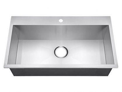 """Golden Vantage 32"""" Handmade Top Mount Single Bowl Drop-In 16 Gauge Stainless Steel Kitchen Sink"""