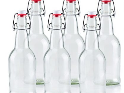 16 oz Glass Beer Bottles for Home Brewing 6 Pack with Flip Caps