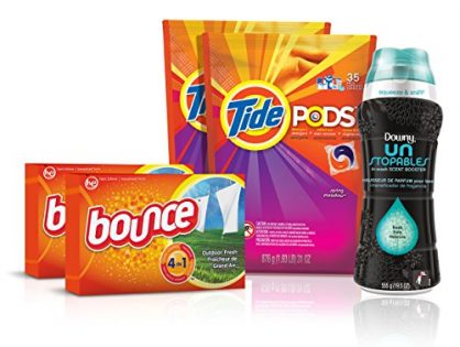 Tide Amazing Laundry Detergent Bundle 68 Loads: Tide PODS, Bounce Sheets and Downy Unstopables
