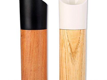Wood Salt and Pepper Grinder Set of 2-Grace Salt and Pepper Shakers with Ceramic Rotor-Adjustable Coarseness,Manual Cordless