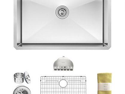 Zuhne Modena 30 Inch Undermount Single Bowl 16 Gauge Stainless Steel Kitchen Sink