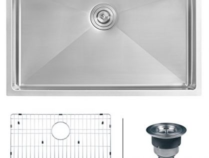 "Ruvati RVH7400 Undermount 16 Gauge 32"" Kitchen Sink Single Bowl, Stainless Steel"