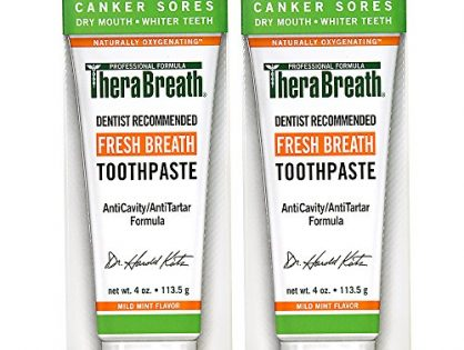 TheraBreath Dentist Formulated  Fresh Breath Anti-Cavity Toothpaste, Mild Mint, 4 Ounce Pack of 2