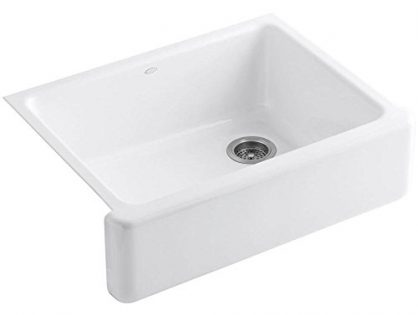 Kohler K-6487-0 Whitehaven Self-Trimming Apron Front Single Basin Kitchen Sink with Tall Apron, White