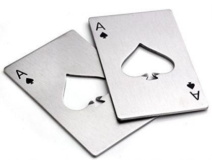 Bottle Opener ,Yerwal 2 Pcs Stainless Steel Credit Card Size Casino Bottle Opener for Your Wallet