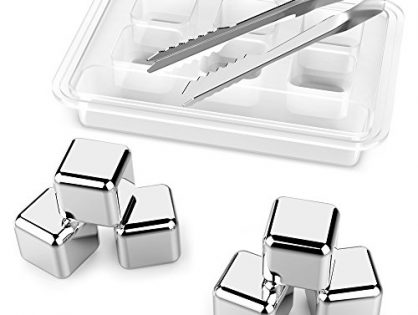 Kollea Stainless Steel Chilling Reusable Ice Cubes for Whiskey Wine, Pack of 6