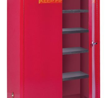 "Sandusky Lee PC60 Red Steel Paint and Ink Storage Cabinet, 5 Adjustable Shelves 60 gallon Capacity, 65"" Height x 43"" Width x 18"" Depth"